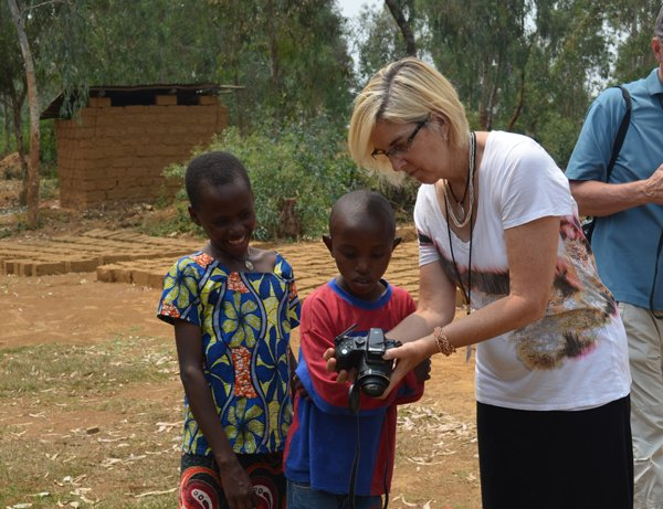 Kathleen visiting a Compassion project in Rwanda