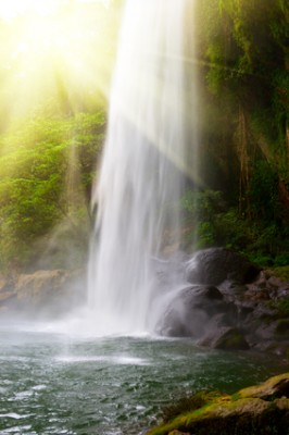 Waterfall in jungles with sun