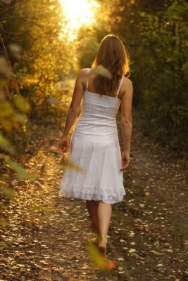girl walk white dress