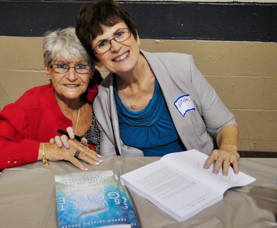 Mary Simsonson and Teresa Parker at Sweet Grace book launch.