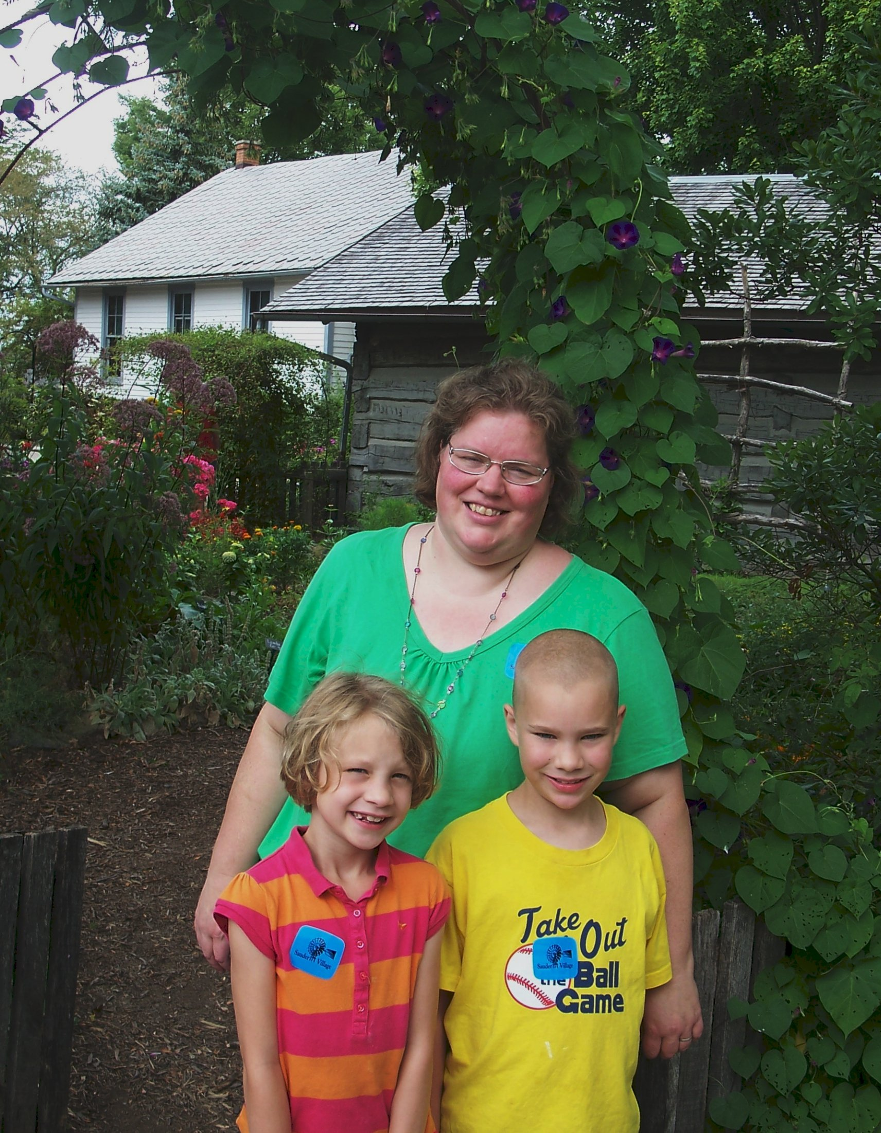 Karen Fritzemeier with her children Greta (6) and Micah (8) visiting Sauder Village in Archbold, Ohio